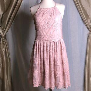 Francesca's high neck lace A-line dress